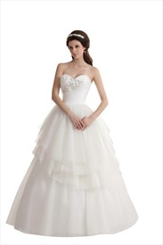 Ivory Sweetheart Layered Tulle Skirt Wedding Dress Bead Embellishments