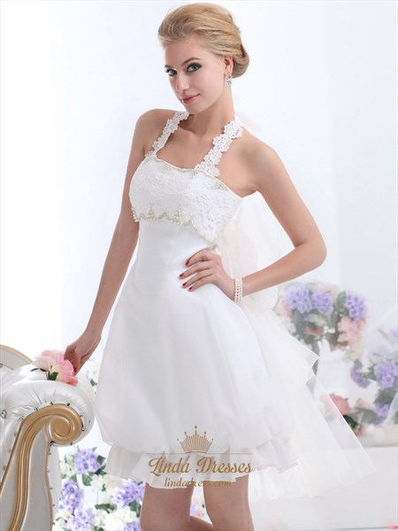 White Short Halter Neck Wedding Dresses With Pearls And Lace Bodice