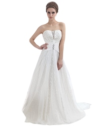 Ivory Sweetheart Beaded Bodice Tulle Wedding Dress With Long Trains