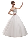 Show details for Ivory Sweetheart Beaded Bodice Ball Gown Wedding Dress With Lace Up Back