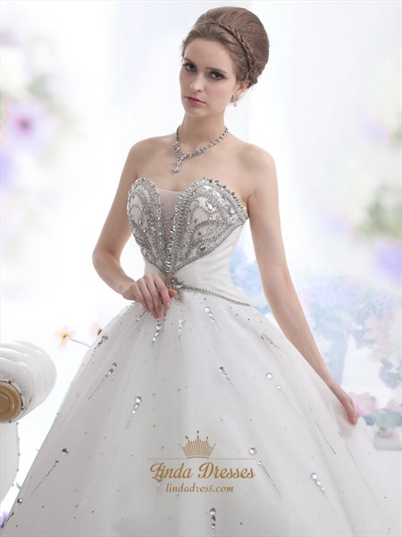 Ivory Sweetheart Beaded Bodice Ball Gown Wedding Dress With Lace Up Back