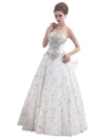 Show details for Ivory Lace Fully Beaded Strapless Wedding Dress With Big Bow On Back