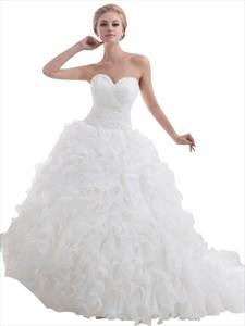 White Sweetheart Beaded Organza Wedding Dress With Ruffled Skirt