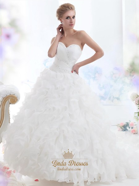 White Sweetheart Beaded Organza Wedding Dress With Ruffled Skirt