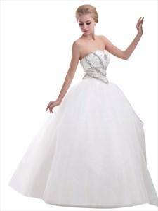 Ivory Sweetheart Strapless Beaded Bodice Wedding Dress With Tulle Skirt