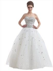 Ivory Strapless Heavily Beaded Bodice Tulle Ball Gown Wedding Dresses