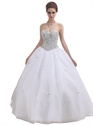 White Sweetheart Neckline Sequin Bodice Wedding Dress With Rhinestones