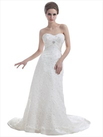 Ivory Sweetheart Sweep Train Sheath Lace Wedding Dress With Beading