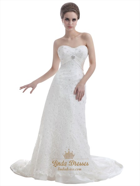 Ivory Sweetheart Sweep Train Sheath Lace Wedding Dress With Beading