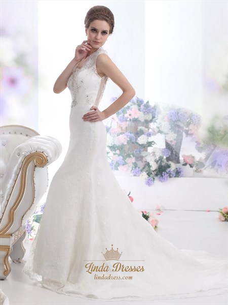Ivory Lace Mermaid Keyhole Back Wedding Dress With Cathedral Train
