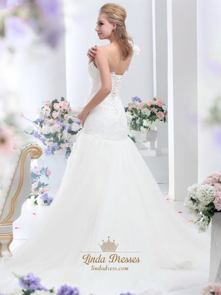 Ivory One Shoulder Flower Strap Mermaid Lace Bodice Tulle Wedding Dress