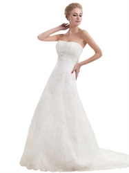 Ivory Strapless Empire Tulle Wedding Dresses With Beaded Appliques