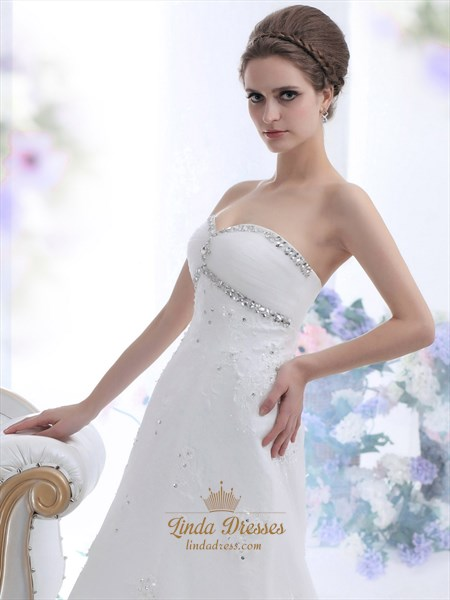 Ivory Strapless Beaded Tulle Wedding Dresses With Semi Cathedral Trains