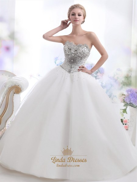 Ivory Sweetheart Ball Gown Heavily Beaded Bodice Tulle Wedding Dress