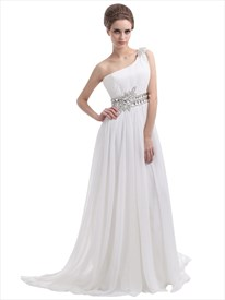 Ivory One-Shoulder Chiffon Sweep Train Beach Wedding Dress With Beading