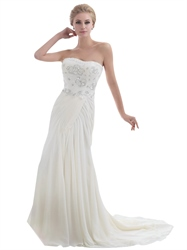 Ivory Mermaid Strapless Chiffon Beaded Bodice Beach Wedding Dress