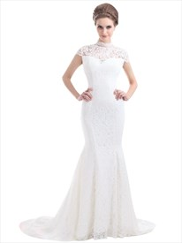 Ivory Lace Mermaid Illusion Neckline Wedding Dress With Cap Sleeves