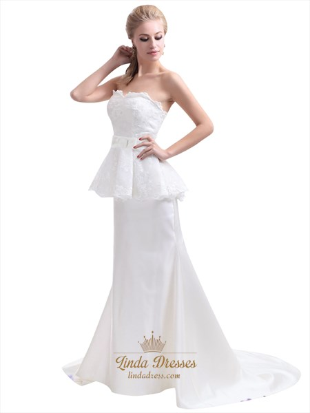 Ivory Lace Bodice Taffeta Two Tone Sweetheart Mermaid Wedding Dress