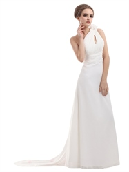 Ivory One Shoulder Chiffon Beach Watteau Train Wedding Dress With Flower