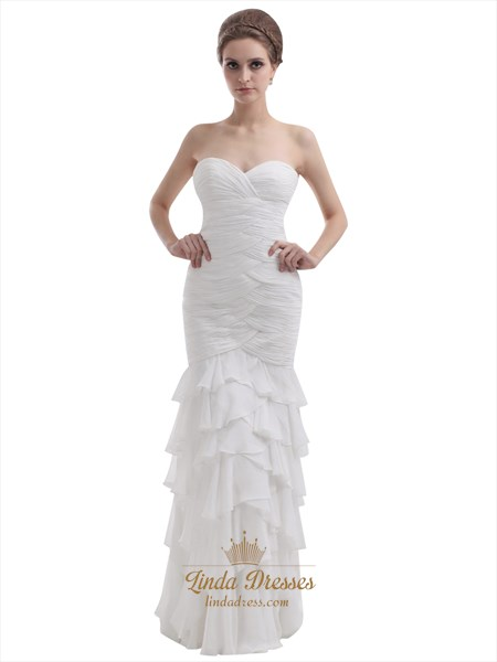 Ivory Strapless Sweetheart Chiffon Mermaid Wedding Dress With Ruffles
