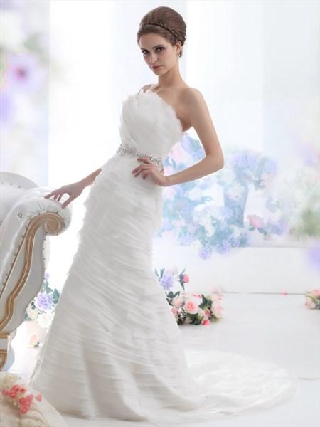 Ivory Gathered Bodice Mermaid Wedding Dress With Beaded Waistband