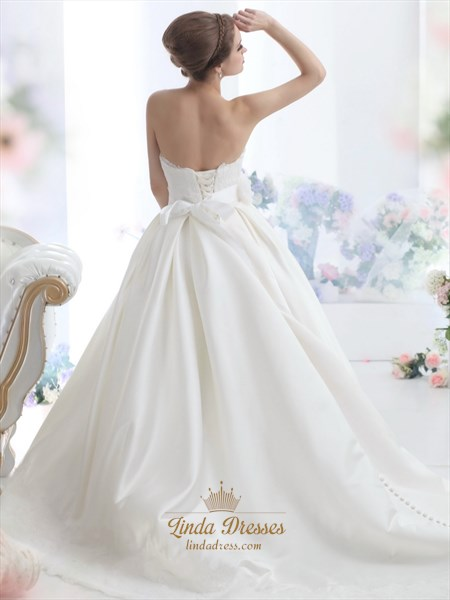 Ivory Sweetheart Strapless Lace Bodice Wedding Dress With Flower Sash