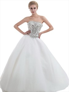 Ivory Strapless Heavily Beaded Bodice Chapel Train Tulle Wedding Dresses