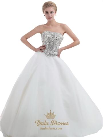 Ivory strapless heavily beaded bodice chapel train tulle for Ivory strapless wedding dress