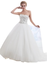 Ivory Strapless Tulle Silver Beaded Bodice Ball Gown Wedding Dress