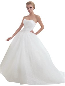 Ivory Strapless Tulle Ball Gown Sweep Train Wedding Dresses With Beading