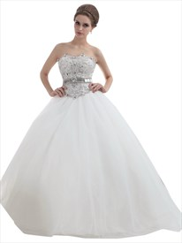 Ivory Strapless Tulle Ball Gown Wedding Dress With Rhinestone Bodice