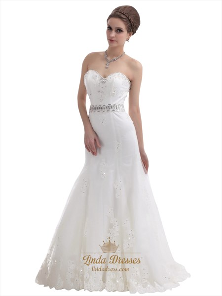Mermaid Strapless Beaded Appliques Wedding Dress With Beaded Waist