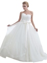 Ivory Lace Bodice Sweetheart Ball Gown Tulle Wedding Dress With Sash