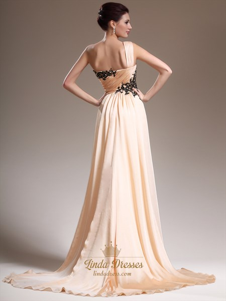 Peach One Shoulder A Line Chiffon Prom Dress With Lace Appliques Detail