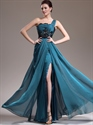 Teal One Shoulder A-Line Chiffon Floor Length Prom Dress With Side Slits