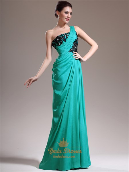 Green Chiffon One Shoulder Applique Prom Dress With Asymmetrical Draping
