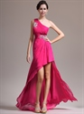 Show details for Hot Pink One Shoulder Prom Dress With Beaded Detail And High Low Hemline