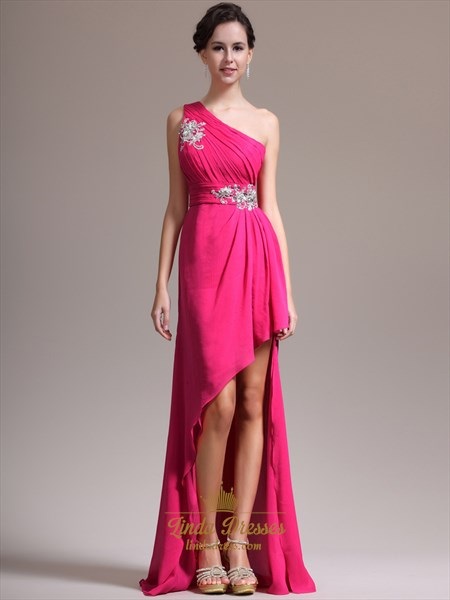 Hot Pink One Shoulder Prom Dress With Beaded Detail And High Low Hemline