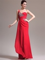 Show details for Red One Shoulder Chiffon Beaded Bodice Prom Dress With Cascading Detail
