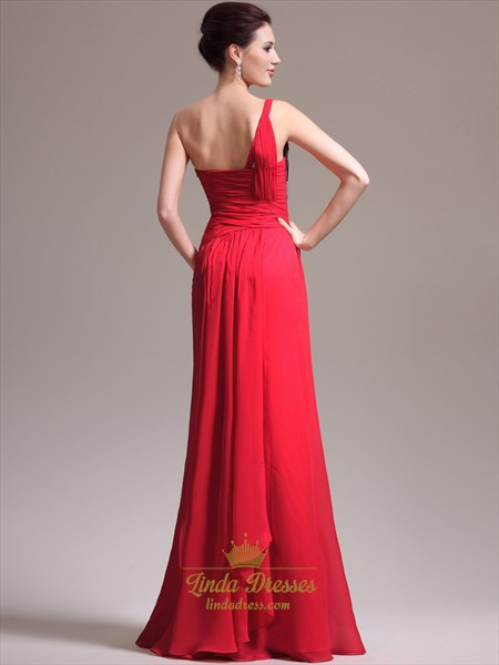 Red One Shoulder Chiffon Beaded Bodice Prom Dress With Cascading Detail