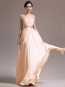 Show details for Peach Chiffon Beaded Cap Sleeve Ruched Bodice Prom Gown With Side Drape