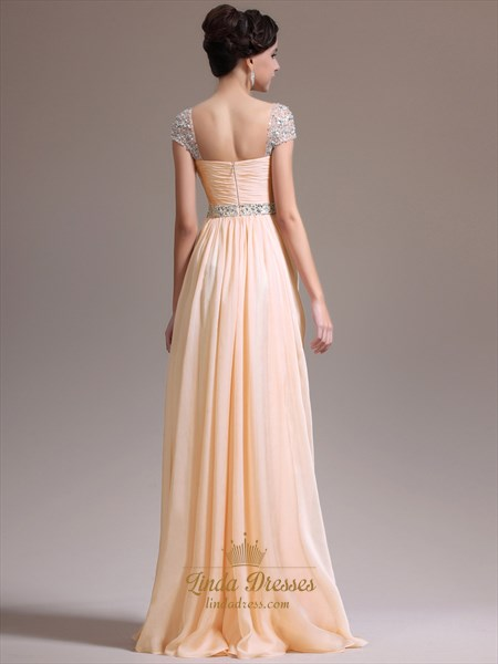 Peach Chiffon Beaded Cap Sleeve Ruched Bodice Prom Gown With Side Drape