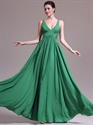 Show details for Green V-Neck Chiffon A Line Floor Length Prom Dress With Ruching