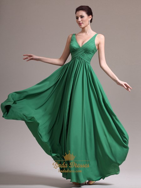 Green V-Neck Chiffon A Line Floor Length Prom Dress With Ruching
