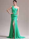 Show details for Green Sheath One Shoulder Chiffon Prom Dress With Beaded Detail