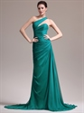 Teal Sheath Sweep Train One Shoulder Chiffon Pleated Bodice Prom Dress