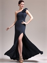 Navy Blue Sheath One Shoulder Flower Strap Chiffon Prom Dress With Slits