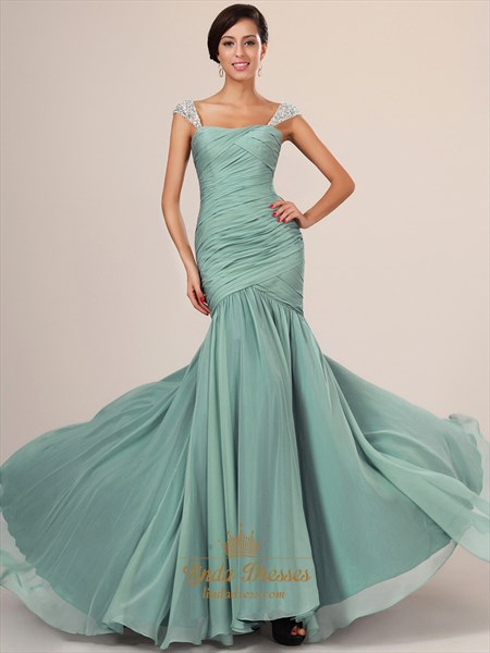 Show details for Flowy Sage Cap Sleeve Chiffon Mermaid Prom Dresses With Beaded Straps