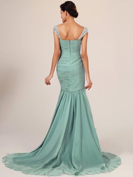 Flowy Sage Cap Sleeve Chiffon Mermaid Prom Dresses With Beaded Straps
