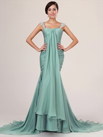 Flowy Sage Cap Sleeve Chiffon Mermaid Prom Dresses With Beaded Straps